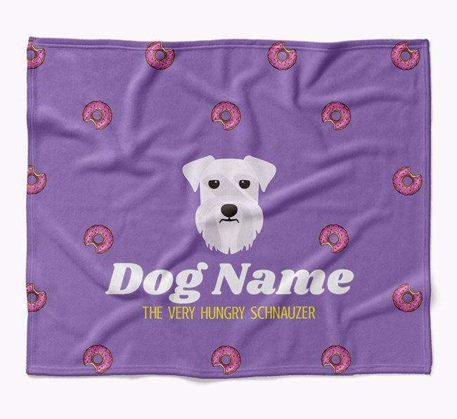 Personalized 'The Very Hungry Schnauzer' Blanket with Doughnut Print