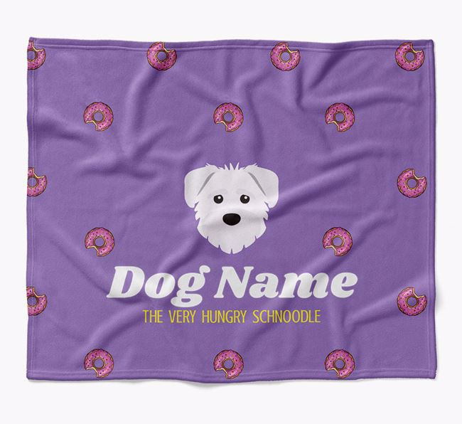 Personalized 'The Very Hungry Schnoodle' Blanket with Doughnut Print