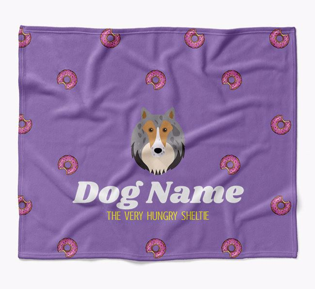 Personalized 'The Very Hungry Shetland Sheepdog' Blanket with Doughnut Print