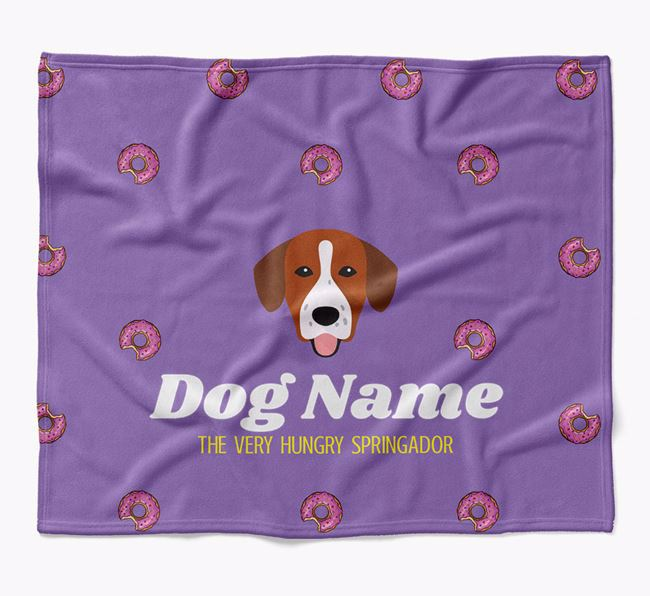 Personalized 'The Very Hungry Springador' Blanket with Doughnut Print