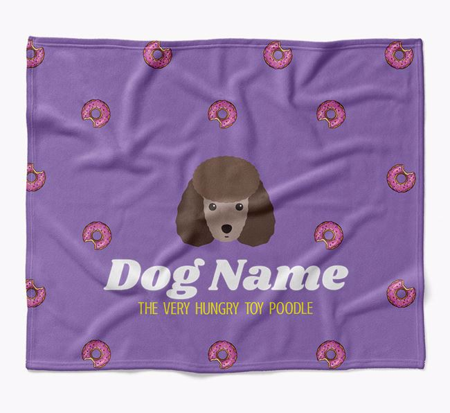 Personalized 'The Very Hungry Toy Poodle' Blanket with Doughnut Print