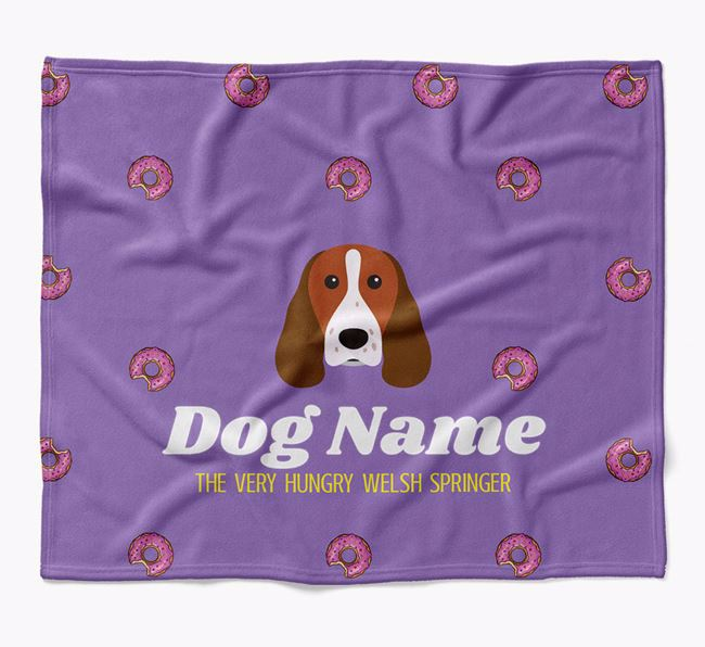 Personalized 'The Very Hungry Welsh Springer Spaniel' Blanket with Doughnut Print