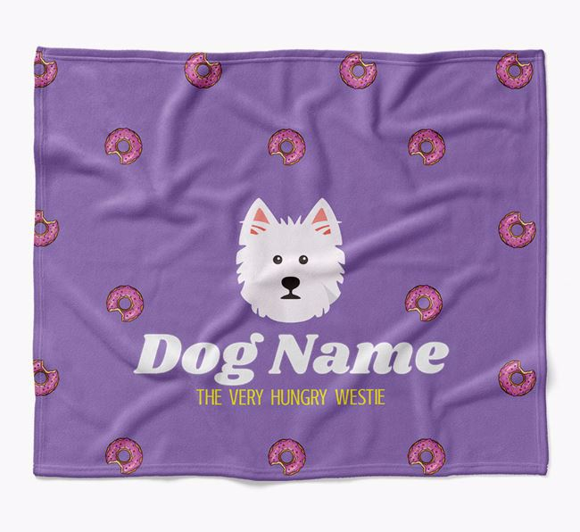Personalized 'The Very Hungry West Highland White Terrier' Blanket with Doughnut Print