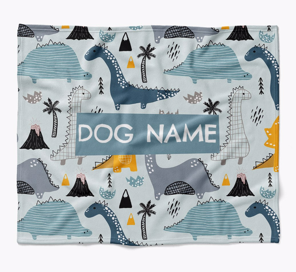 Personalized Dinosaur Print Blanket for your Dog flat