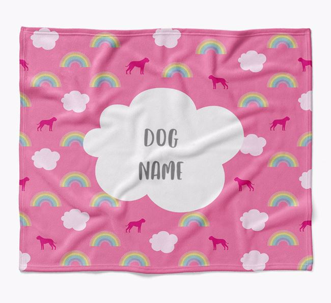 Personalized Rainbow Blanket with American Bulldog Silhouettes