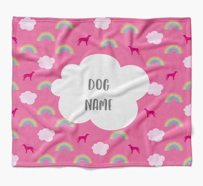 Personalized Rainbow Blanket with Blue Lacy Silhouettes