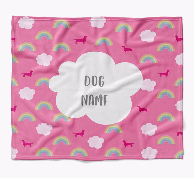 Personalized Rainbow Blanket with Dachshund Silhouettes