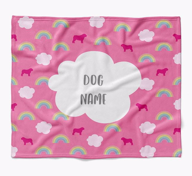 Personalized Rainbow Blanket with English Bulldog Silhouettes