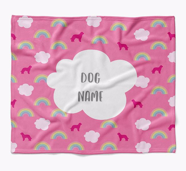 Personalized Rainbow Blanket with Goldendoodle Silhouettes