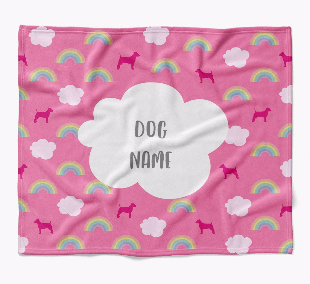 Personalized Rainbow Blanket with Dog Silhouettes flat