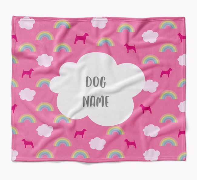 Personalized Rainbow Blanket with Jack Russell Terrier Silhouettes