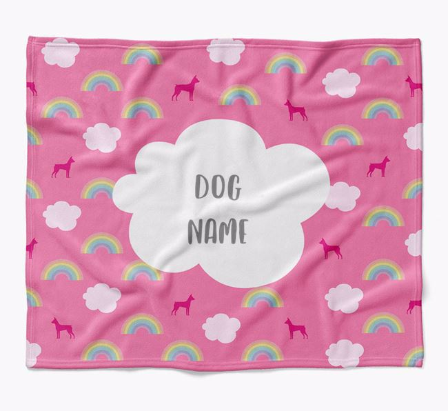 Personalized Rainbow Blanket with Miniature Pinscher Silhouettes