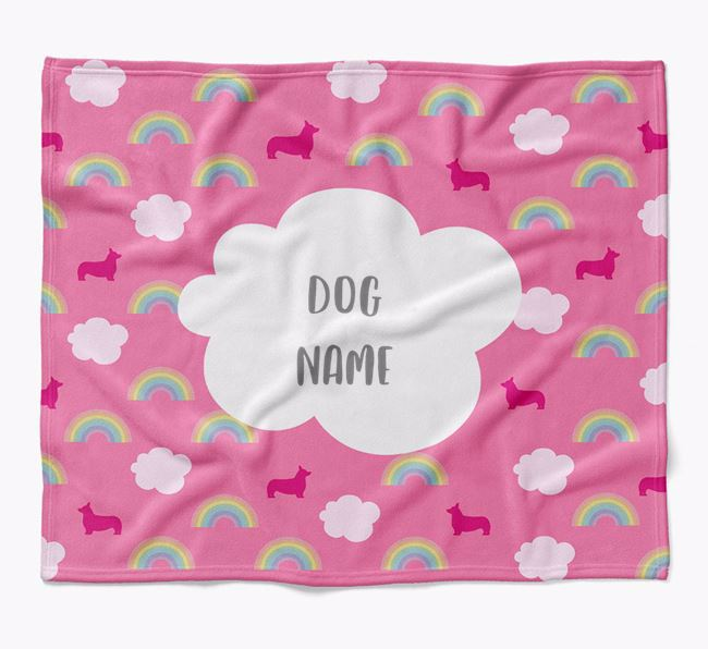 Personalized Rainbow Blanket with Pembroke Welsh Corgi Silhouettes