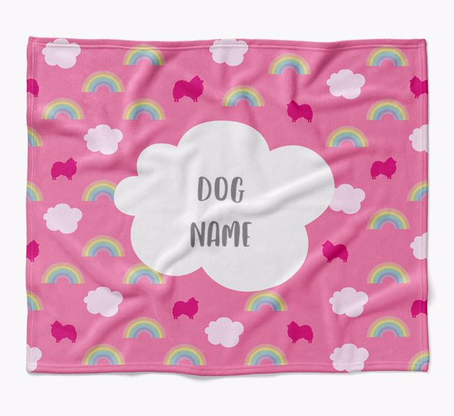 Personalized Rainbow Blanket with Pomeranian Silhouettes