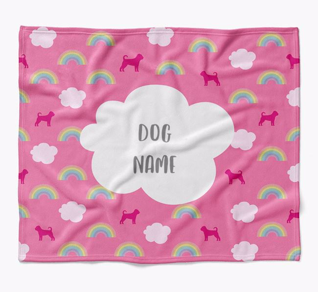 Personalized Rainbow Blanket with Puggle Silhouettes