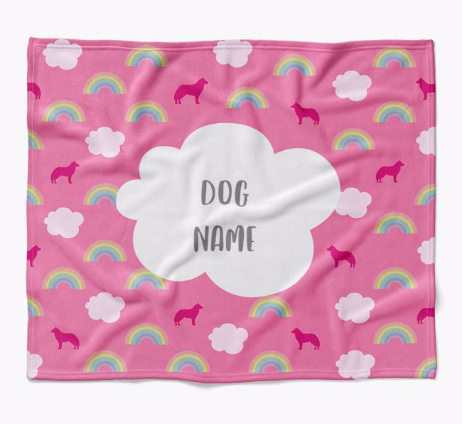 Personalized Rainbow Blanket with Siberian Husky Silhouettes