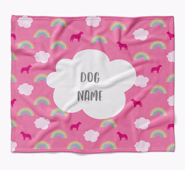 Personalized Rainbow Blanket with Staffordshire Bull Terrier Silhouettes