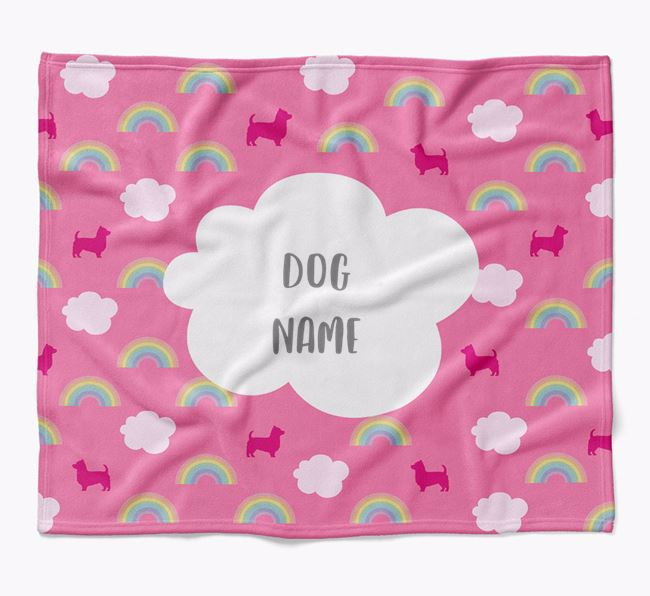 Personalized Rainbow Blanket with Yorkshire Terrier Silhouettes