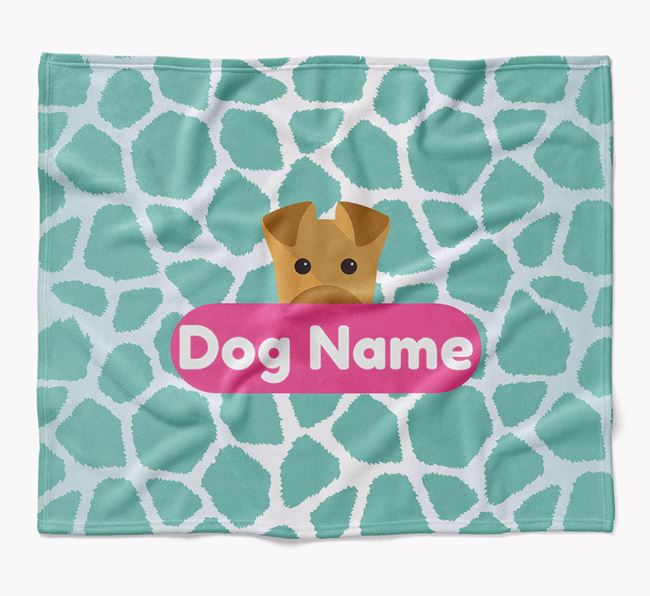 Personalized Giraffe Print Blanket with Airedale Terrier Icon
