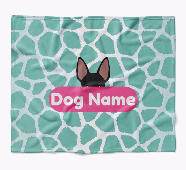 Personalized Giraffe Print Blanket with American Hairless Terrier Icon