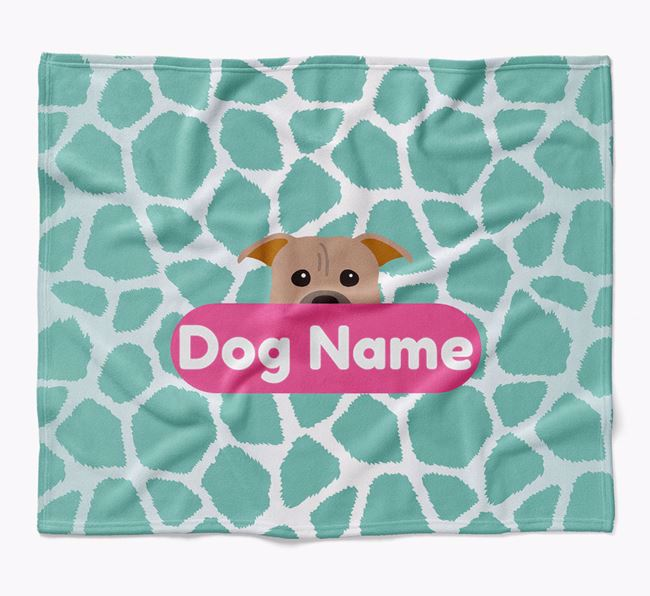 Personalized Giraffe Print Blanket with American Pit Bull Terrier Icon