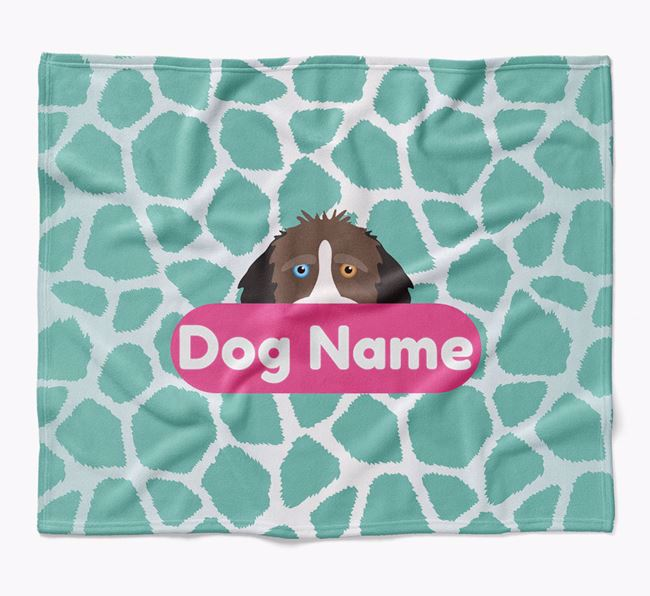 Personalized Giraffe Print Blanket with Aussiedoodle Icon