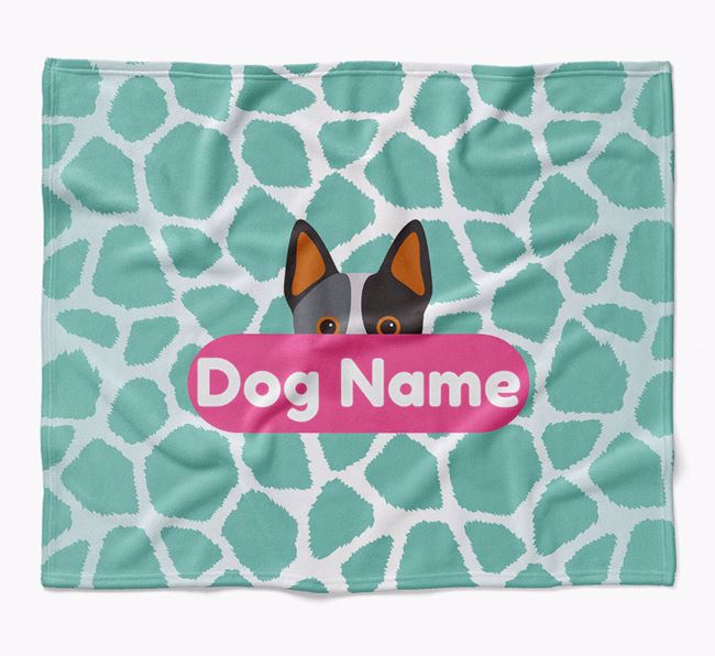 Personalized Giraffe Print Blanket with Australian Cattle Dog Icon