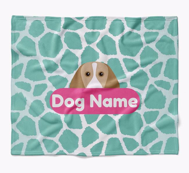 Personalized Giraffe Print Blanket with Beagle Icon