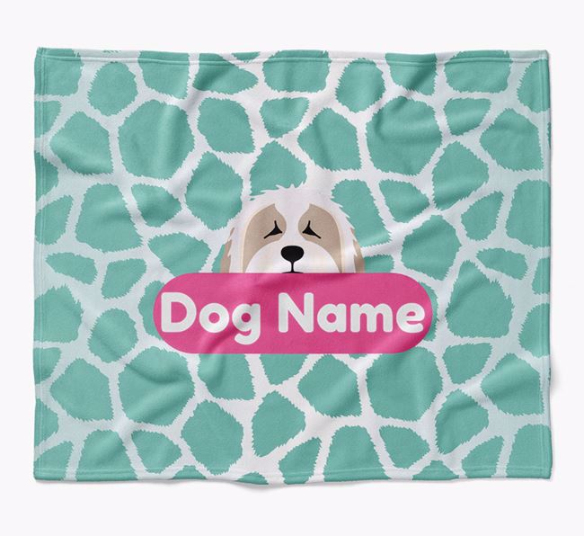 Personalized Giraffe Print Blanket with Bearded Collie Icon