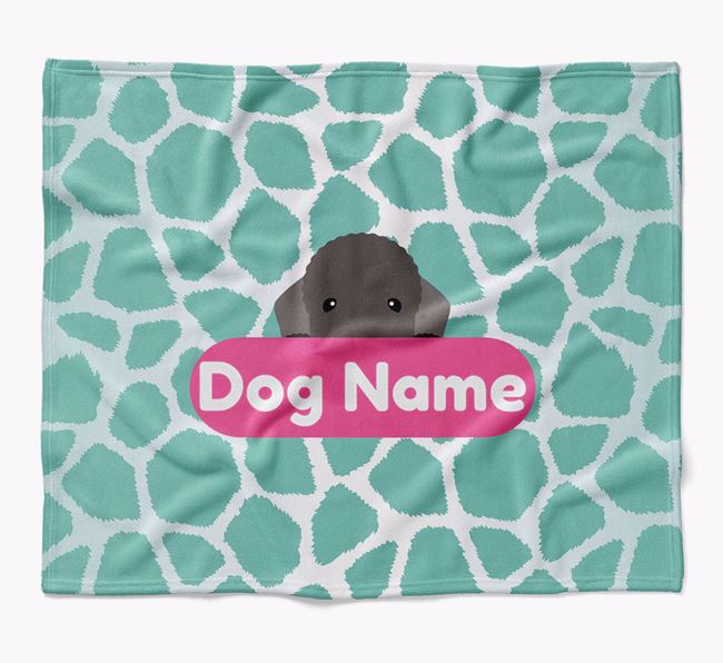 Personalized Giraffe Print Blanket with Bedlington Terrier Icon