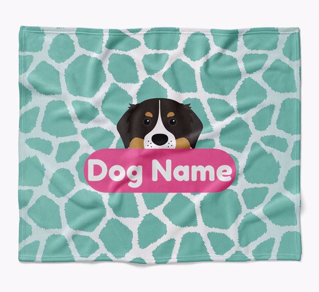 Personalized Giraffe Print Blanket with Bernese Mountain Dog Icon