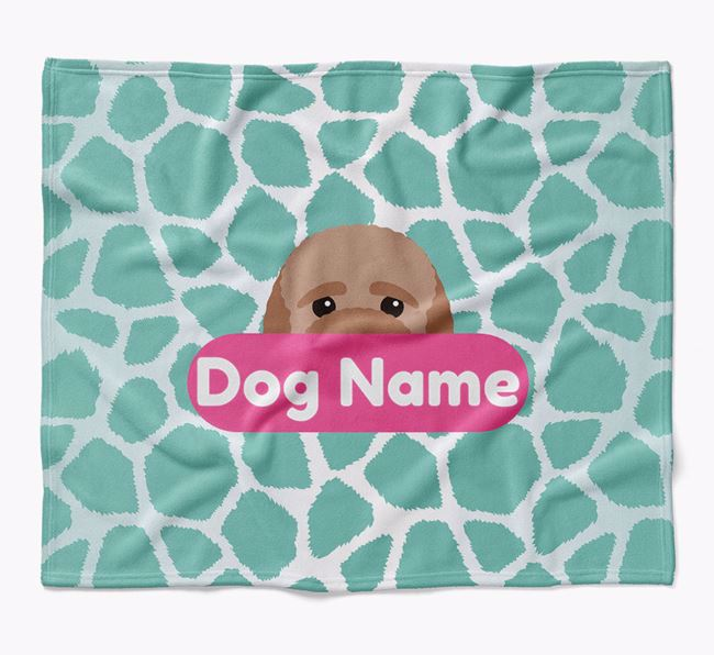 Personalized Giraffe Print Blanket with Bich-poo Icon