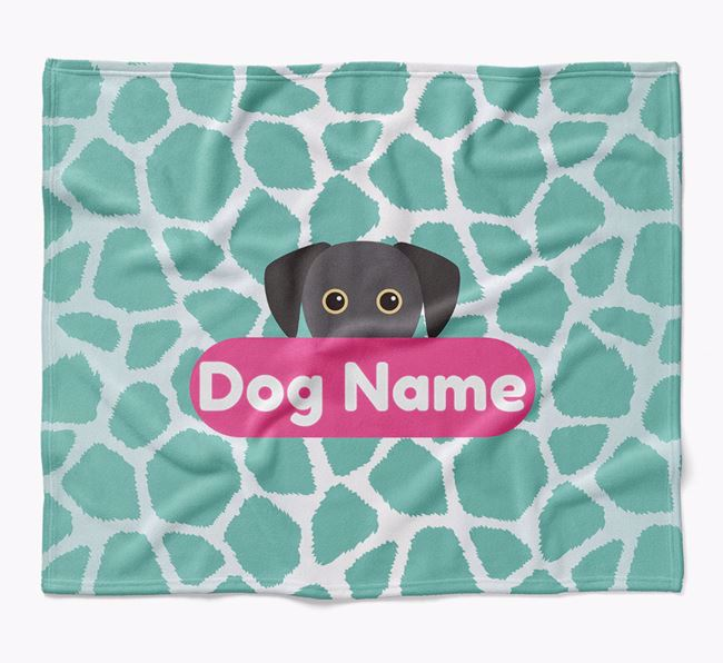 Personalized Giraffe Print Blanket with Blue Lacy Icon