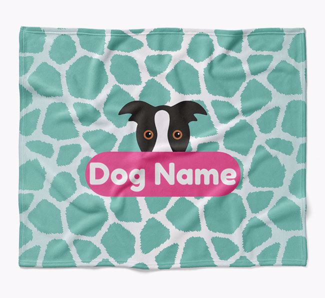 Personalized Giraffe Print Blanket with Border Collie Icon