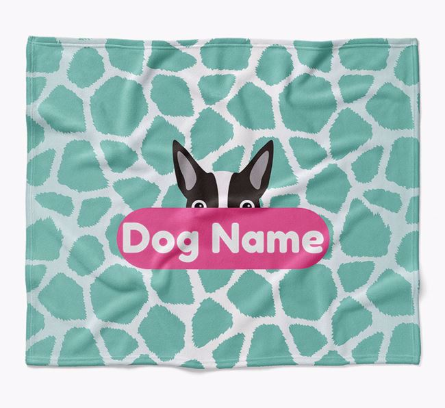 Personalized Giraffe Print Blanket with Boston Terrier Icon