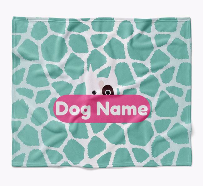 Personalized Giraffe Print Blanket with Boxer Icon