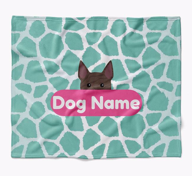 Personalized Giraffe Print Blanket with Bull Terrier Icon