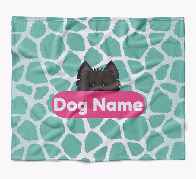 Personalized Giraffe Print Blanket with Cairn Terrier Icon