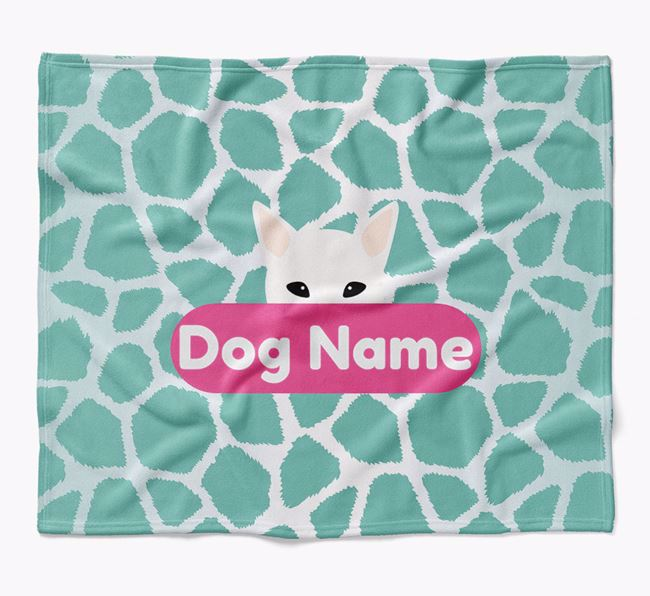 Personalized Giraffe Print Blanket with Canaan Dog Icon
