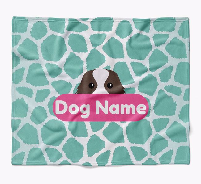 Personalized Giraffe Print Blanket with Cavalier King Charles Spaniel Icon