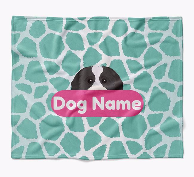 Personalized Giraffe Print Blanket with Cavapoo Icon