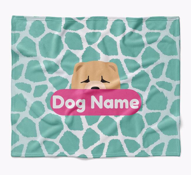 Personalized Giraffe Print Blanket with Chow Chow Icon