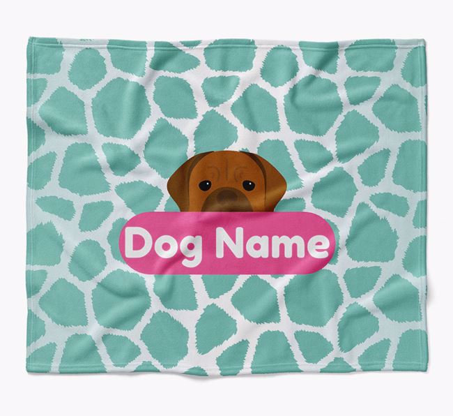 Personalized Giraffe Print Blanket with Dogue de Bordeaux Icon