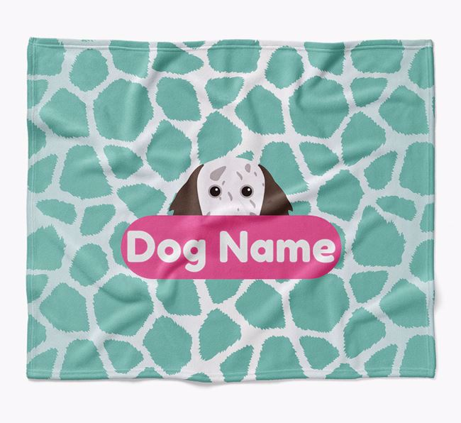 Personalized Giraffe Print Blanket with English Setter Icon