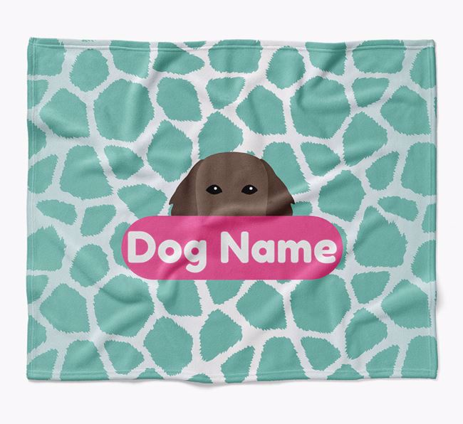 Personalized Giraffe Print Blanket with Flat-Coated Retriever Icon