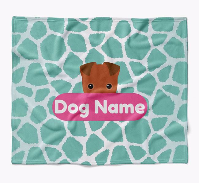 Personalized Giraffe Print Blanket with Fox Terrier Icon