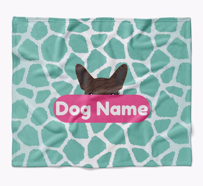 Personalized Giraffe Print Blanket with French Bulldog Icon