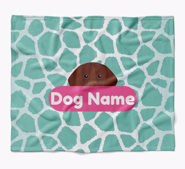 Personalized Giraffe Print Blanket with German Shorthaired Pointer Icon