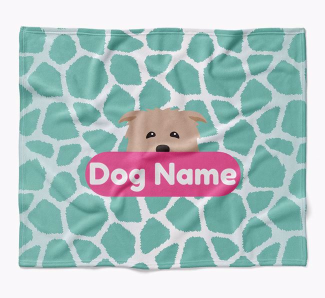 Personalized Giraffe Print Blanket with Glen Of Imaal Terrier Icon