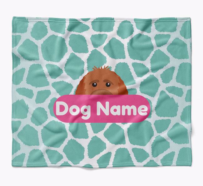 Personalized Giraffe Print Blanket with Goldendoodle Icon
